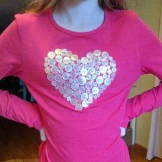 DIY plain t-shirt embellished with vintage buttons