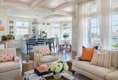 Beach house chic great room with #sunbrella sheers and upholstered fabrics #coastal #decor #katejacksondesign