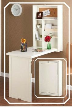 Very cool! Wall-Mounted Floating Desk major space saver! #ad #organizationideas #homedecor