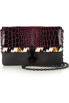 KENZO Printed Patent-Leather & Textured- Leather Shoulder Bag