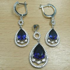 Massjewelry - Pear Cut Blue White CZ 925 Sterling Silver Cocktail Jewelry Set