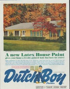 "1961 DUTCH BOY PAINTS vintage magazine advertisement ""Cape Cod Yellow"" ~ Cape Cod Yellow is the fresh and cheerful color chosen in new ""Dutch Boy"" Latex House Paint for the Burnett home in Sherwood Forest, Atlanta, Georgia ... A new Latex House Paint gives your home a freshly painted look that lasts for years! ~"