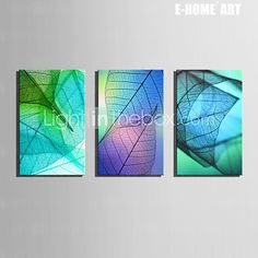 E-HOME® Stretched Canvas Art Transparent Leaves Decoration Painting  Set of 3 - AUD $84.36