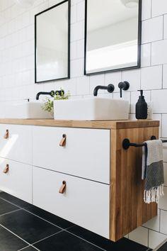 Ikea Hacks: Three ideas for your leftover countertops — Mountainside Home - Ikea DIY - The best IKEA hacks all in one place Ikea Hack Bathroom, Ikea Bathroom Vanity, Ikea Hack Kitchen, Vanity For Small Bathroom, Ikea Hack Vanity, Master Bathroom, Kitchen Vanity, Garage Bathroom, Ikea Kitchens