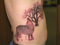 Amazing Rib Tree and Wolf Tattoo for Men