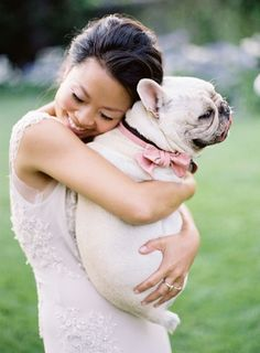 A bride and her beloved Frenchie: http://www.stylemepretty.com/2016/01/27/al-fresco-garden-wedding-in-montecito/ | Photography: Jose Villa - http://josevilla.com/: