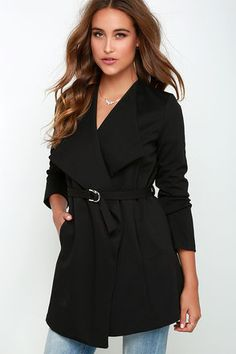 Planning an outfit has never been easier than with the versatile Hey Now Belted Black Jacket! This thick knit number has long sleeves, a draping open front, and a flattering belted sash at the waistline that stays in place thanks to small belt loops above the loose-fitting hemline. Unlined. 75% Polyester, 20% Rayon, 5% Spandex. Hand Wash Cold. Imported.