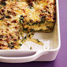 Spinach Pesto and Sausage Strata