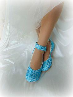 Something Blue Ballet Wedding Shoe Satin by HopefullyRomantic