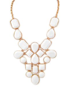 White Jewel Statement Necklace – Modeets