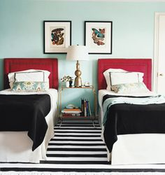 Little Green Notebook: Copy Cat Design: Domino Guest Room. Great substitute options to get your room to look like this on a budget!