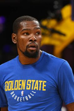 Kevin Durant of the Golden State Warriors looks on before the game against the Los Angeles Lakers on November 29 2017 at STAPLES Center in Los...