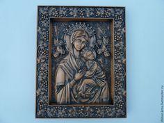 Купить Образ пресвятой богородицы страстная - коричневый, резьба по дереву, икона в подарок, чинар