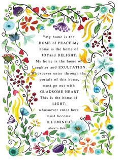 Bahai Quote My home is the home of peace. My home is the by jbart