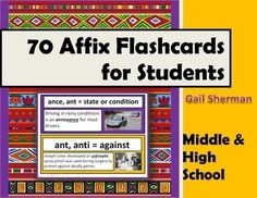 70 Affix Flashcards for Middle and High School Students includes: flashcards with affixes, affix meaning, visual, and affix used in a sentence. Use these Affix Cards as part of a learning center, word wall, or daily affix review with students.