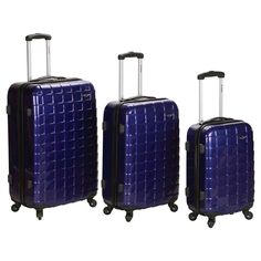 Rockland Celebrity 3pc Polycarbonate/Abs Luggage Set - Purple