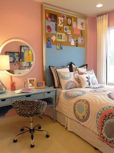 teenagerzimmer für mädchen wanddeko schminktisch mit spiegel