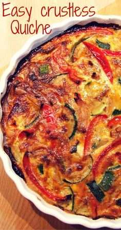 Easy vegetable crustless quiche (dairy free) Loaded with veggies, and free from grains & dairy, this delicious crustless quiche is perfect for the diet. Try it for breakfast, lunch or dinner! Veggie Quiche, Quiche Dish, No Crust Quiche, Vegetarian Recipes, Cooking Recipes, Healthy Recipes, Dairy Free Quiche Recipes, Vegetarian Quiche, Paleo Quiche