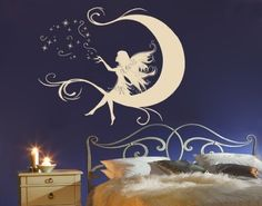Best Quality Vinyl Wall Sticker Decals - Moon Fairy ( Size: 24in x 19in - Color: black ) - No: 2300 by Wall Spirit. $41.95. Application instructions included. Magical wall designs, wall decals, wall words, wall clocks and wall hangers from Wall Spirit. Fast delivery with FedEx and Free Shipping for orders of $65 and over. Choose from over 750 exclusive designs in over 30 different colors from small to giant size wall decals. Service Hotline Mon-Fri from 9-5 PST 877 493-1690. ...