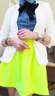 denim shirt+scarf+neon skirt