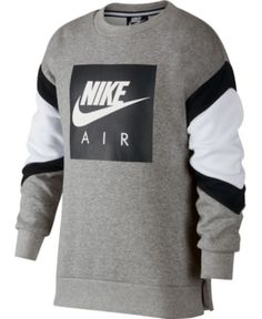 Nike Big Boys Air-Print Colorblocked Sweatshirt - Gray S Polo Outfit, Hoodie Outfit, Cute Nike Outfits, Boy Outfits, Sweatshirts Nike, Nike Clothes Mens, Men's Coats And Jackets, Big Boys, Nike Men