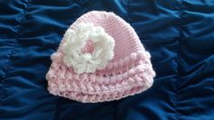 Adorable pink baby hat with flower, crocheted with a puff stitch - buy for your baby or a gift at https://www.etsy.com/listing/204430421/adorable-crocheted-baby-girls-hat-with?ref=shop_home_active_10