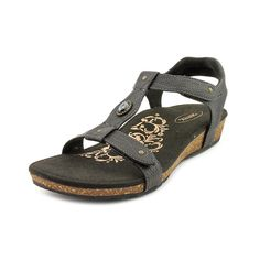 Aetrex Lori Women  Open-Toe Leather Black Slingback Sandal #Aetrex #Slingbacks