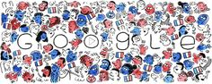 Bastille Day 2016 Date: July 14 2016 Location: France Tags: Animation National Holiday faces flag Google Doodles, Bastille, Logo Google, Art Google, Google Images, Bastile Day, Hand Coloring, Coloring Pages, Pray For France