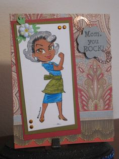 Mom's B'day card. cardstock recollection; pattern paper Anna Griffin; border anna griffin; Kenny K stamp; sentiment stamp cardztv.