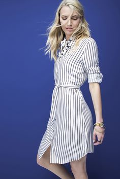 Summer chic, the striped shirtdress. Striped Shirt Dress, Stripe Dress, Summer Chic, Shirtdress, Feminine, How To Make, Shirts, Inspiration, Dresses