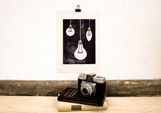 Glühbirnen | Linoldruck von Marie & Ella auf DaWanda.com