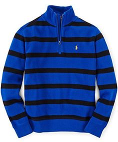 """Product review for """"Ralph Lauren Boys' Classic Striped French-Ribbed Sweater.  This Cotton Half-Zip Sweater is accented with our signature embroidered pony. Team it with a polo shirt and a rolled-up jean.       Famous Words of Inspiration...""""Writing, at its best, is a lonely life. Organizations for writers palliate the writer's loneliness, but I doubt..."""
