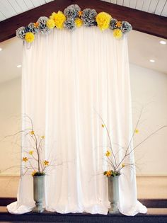 Browse our Indoor wedding photo gallery for thousands of beautiful wedding pictures. Find amazing wedding ceremony ideas and get inspiration for your wedding. Winter Wedding Ceremonies, Wedding Ceremony Backdrop, Wedding Stage, Diy Wedding, Wedding Church, Indoor Wedding, Wedding Ideas, Wedding Backdrops, Indoor Ceremony