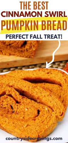 This Cinnamon Swirl Pumpkin Bread is the perfect thing to bake when the weather starts to get chilly outside. This bread makes for a great breakfast or afternoon treat. The aromas of cinnamon and pumpkin from the oven are a bonus! See how easy this bread is to make on the blog. Easy Dinner Recipes, Dessert Recipes, Desserts, Fall Treats, Pumpkin Bread, How To Make Bread, Kid Friendly Meals, Recipe Using, Countryside