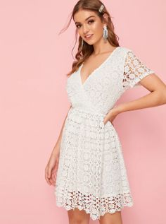 To find out about the Surplice Neck Lace Overlay Flare Dress at SHEIN, part of our latest Dresses ready to shop online today! V Neck Dress, Dress P, Dress Outfits, Pop Fashion, Fashion News, South African Shop, Easy Funny Halloween Costumes, Latest Dress, Lace Overlay