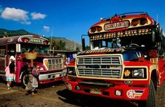 Colourful crossing ... buses in Guatemala.