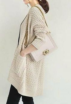 Image of [grzxy6600712]Thicken Fashion V Neck Batwing Loose Casual Monochromatic Sweater Cardigan
