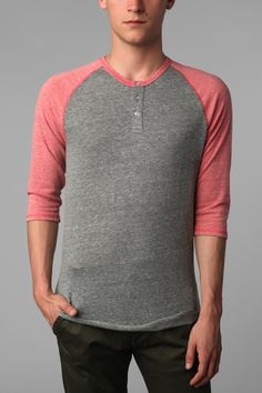 Alternative 3/4-Sleeve Two-Tone Henley  #UrbanOutfitters