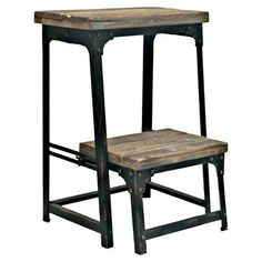 Adjustable reclaimed wood and metal step stool.  Product: Step stoolConstruction Material: Metal and wood