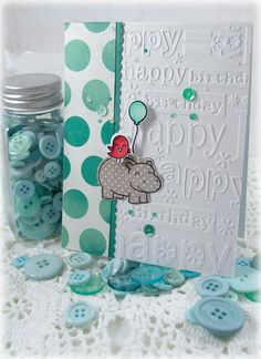 n2s : cute use of this embossing folder & stamp set...Card: Another Lawn Fawn Birthday Card