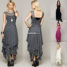 Women Sheer Lace Party Casual double layered Gown Prom Evening V Neck Long Dress