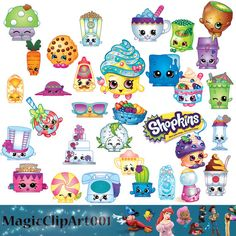BUY2GET1FORFREE!205 Shopkins Clip Art- Printable Digital Clipart Graphic Instant Download Clip Art Scrapbook Invitations printable 300 dpi