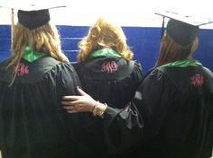 Monogrammed graduation gowns