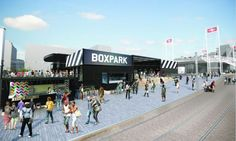 Boxpark Croydon, scheduled to open this summer, is the second shipping container mall by Boxpark in the United Kingdom. The average unit, retrofitted to Boxpark specifications, consists of four to five containers linked together. London Shopping, Shopping Mall, Civil Engineering Works, Real Estate Funds, Box Park, Container Bar, The Future Of Us, Brixton, Home Plans