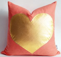 Sukan / coral gold pillow  white and gold pillow  pink by sukanart, $35.50
