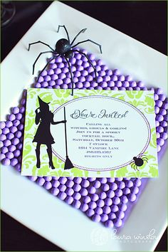Witchy Party Invite in Purple, Green & Black