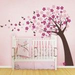 Princess Carriage Beds For Bab Wih Walls Pink Soft Color And Painting Flower,trees Design