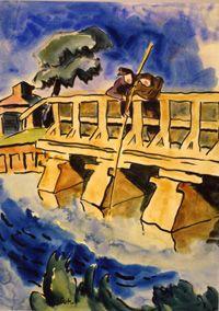 Anglur auf der Brucke - Karl Schmidt-Rottluff Karl Schmidt Rottluff, Blue Rider, Degenerate Art, Ernst Ludwig Kirchner, Expressionist Artists, West Berlin, Writers And Poets, Dresden, Art