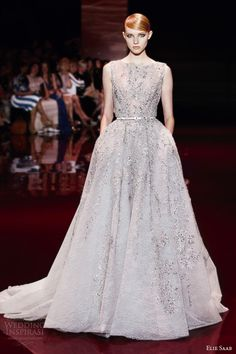 elie saab fall 2013 2014 couture sleeveless bateau neck ball gown  embellished Elie Saab Gowns d8bc3aaa9613