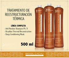 Nuestras línea completa de productos Brasil Cacau presentación de 500 ml., para un alisado perfecto.